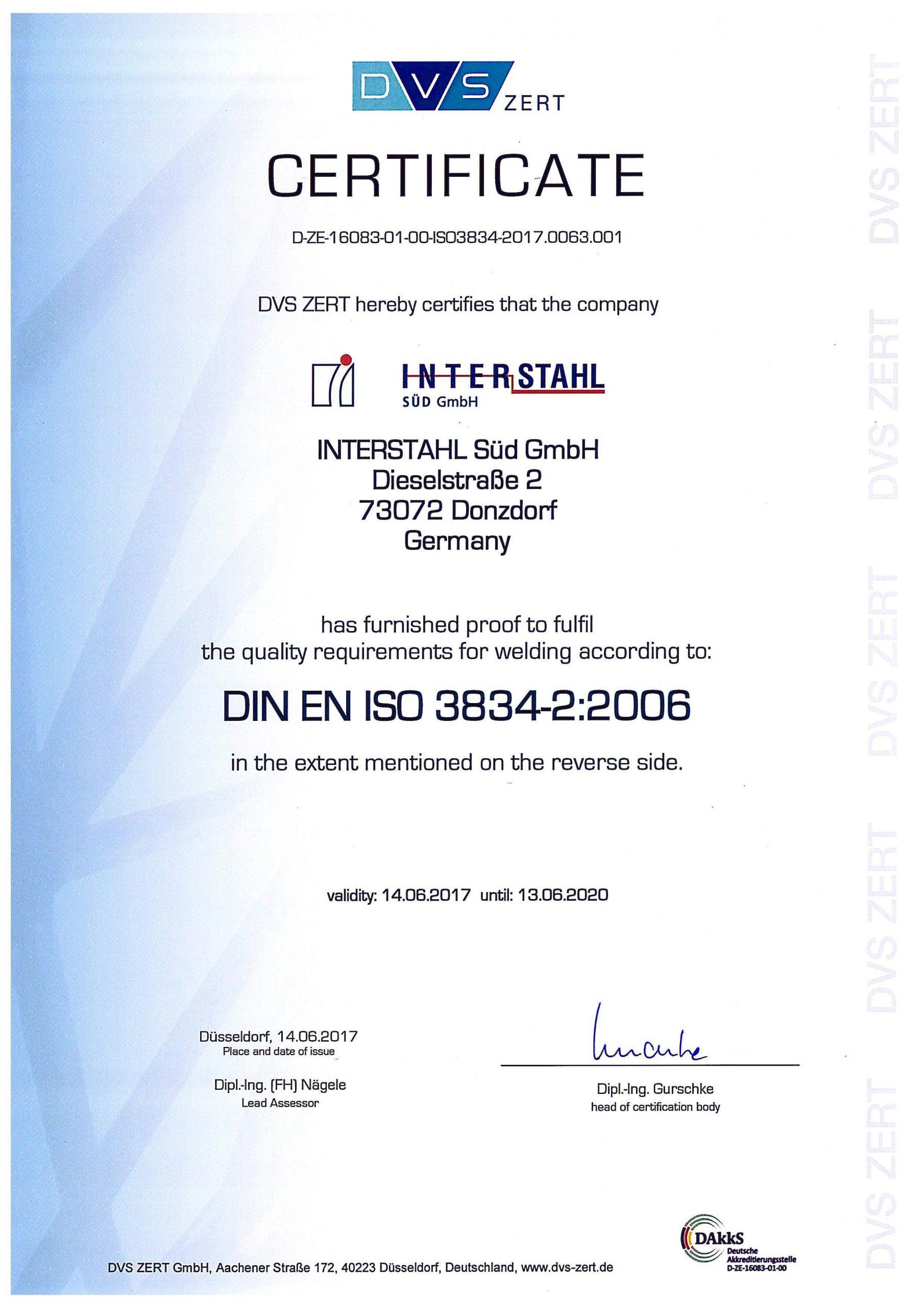 ISO Zertifikat DIN EN 3834-2:2006